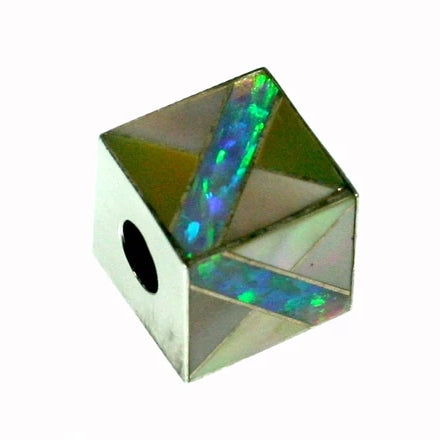 Inlay Cube 12mm3 Pink Mussel w/Opal
