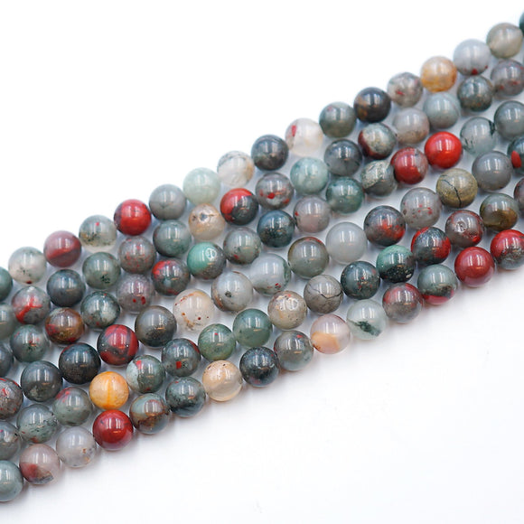 (afrblood001) 8MM Round African Bloodstone - Scottsdale Bead Supply