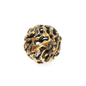 (bzbd007-9324) Bronze Free Form Large Hollow Textured Ball Bead