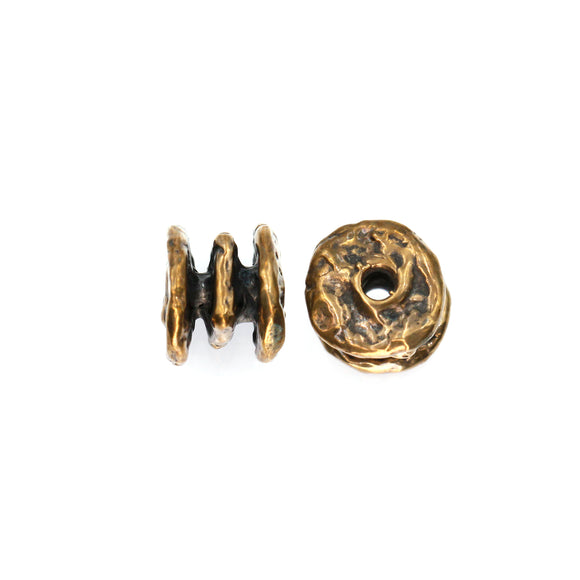 (bzbd009-9394) Handmade Solid Bronze 12mm Round Triple Spacer Bead