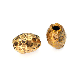 (bzbd021-9484) Solid Bronze Textured Fat Barrel Bead