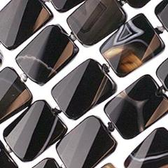 (ba004) 15x20mm Banded Agate Rectangles - Scottsdale Bead Supply