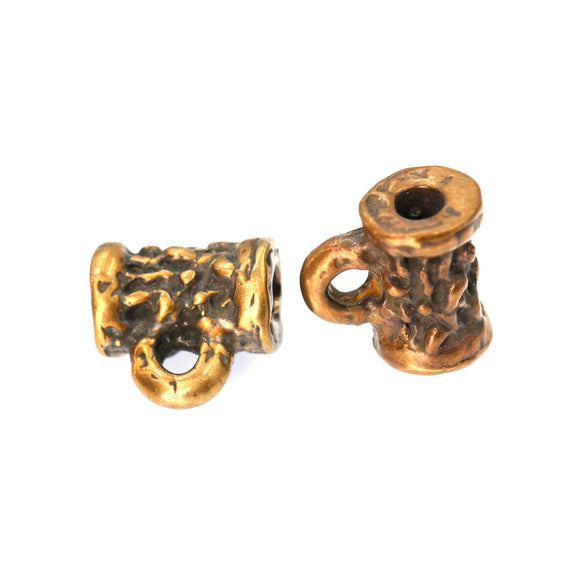 (bzbd026-9506) Bronze Tube Bead With Ring On Bottom