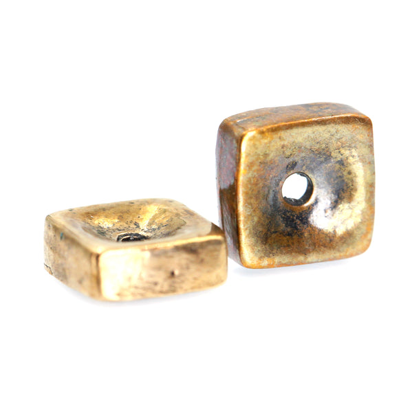 (bzbd059-9865b) 10mm Flat Square Spacer Bead
