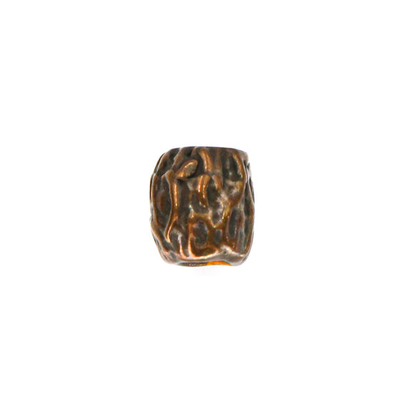 (bzbd165-9920) Solid bronze lined textured bead.