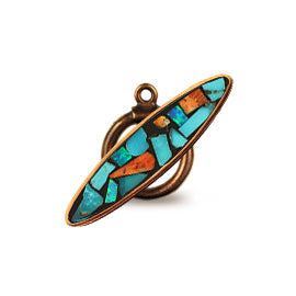 Bronze Inlay Toggle with Turquoise and Spiny Oyster