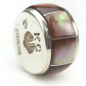 Inlay Barrel 10 mm x 18 mm Brown Lip Shell