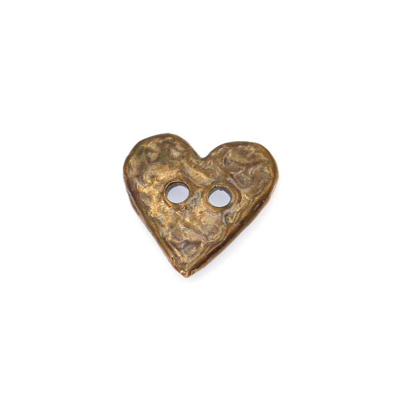 (bzbn019-N0154a) Bronze Heart Bead with 2 holes