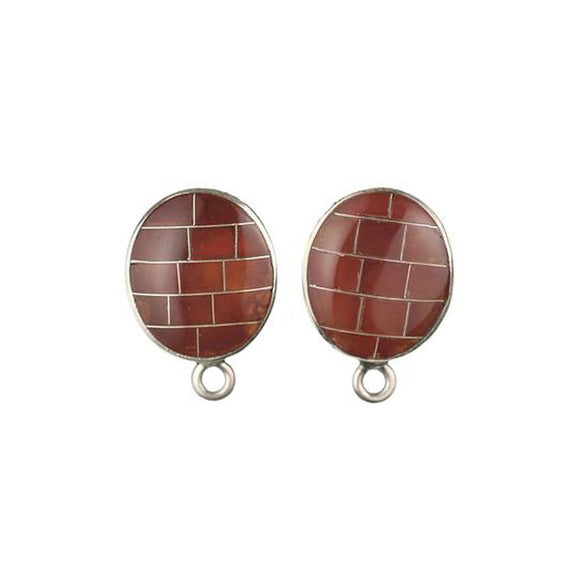ET-010 Carnelian Oval Inlay Earring Top
