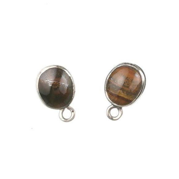 ET-012 Tiger's Eye Sm Oval Earring Top