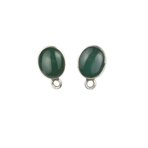 ET-016 Green Agate Sm Oval Earring Tops