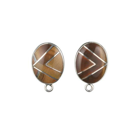 ET-017 Tiger's Eye Oval Earring Top
