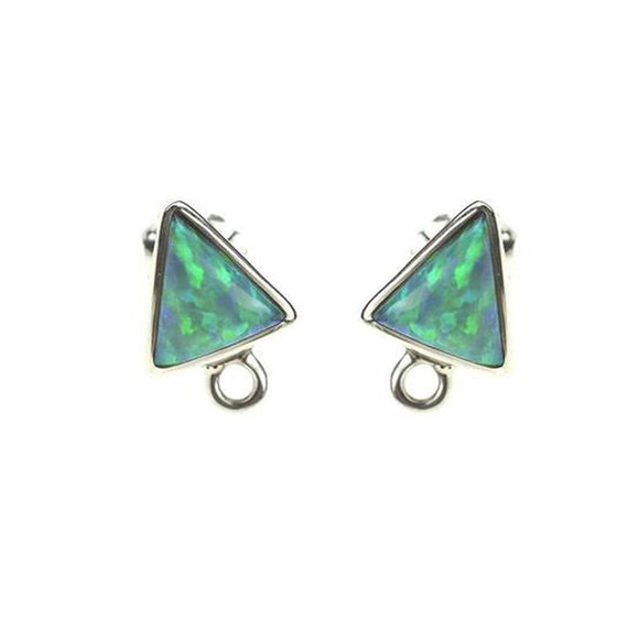 ET-031 Green Synth. Opal Triangle Earring Tops