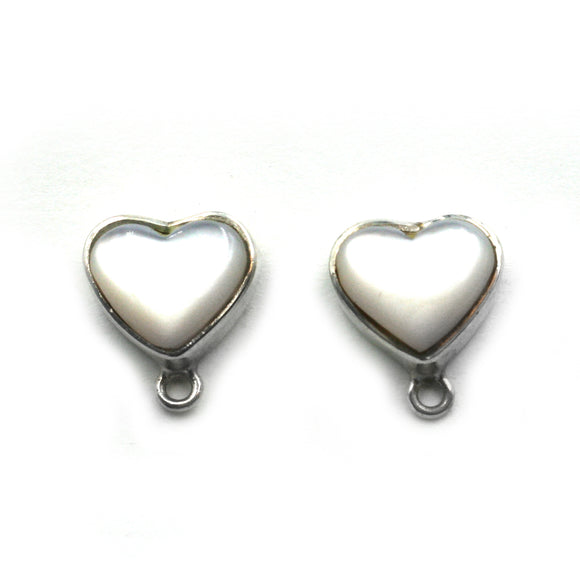 ET-038 Mother of Pearl Heart Earring Tops