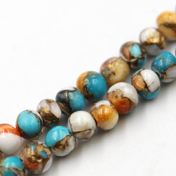 (comp001) 4mm Kingman Turquoise & Spiny Oyster Composite