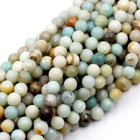 (ama008) Faceted 8mm multi colored Amazonite round beads.