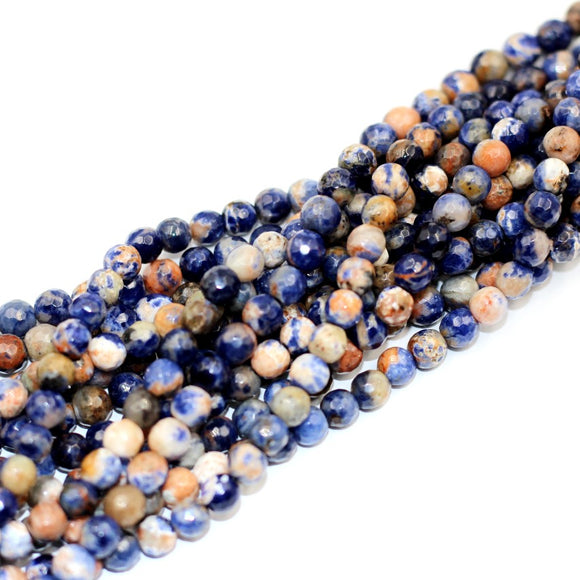 (soda006)  Faceted 6mm Blue Denim Sodalite beads .