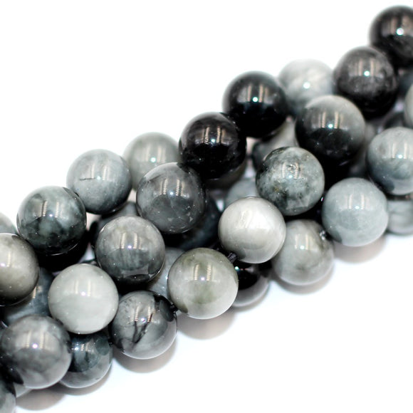 (Hawkeye001)  8mm. Gray/Black Hawkeye Beads