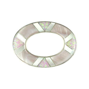 Inlay Large Loop  Pink Mussel, Pink Synth. Opal and White MOP