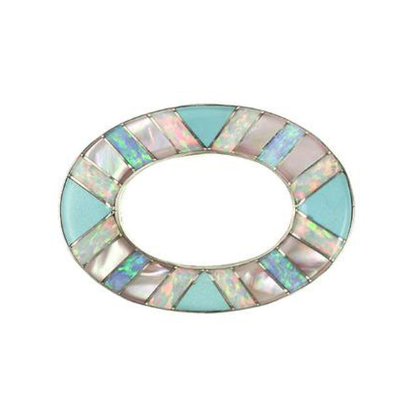 Inlay Large Loop Sleeping Beauty Turquoise and Synth Opal