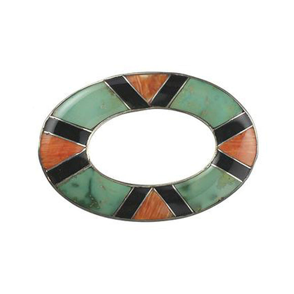 Inlay Large Loop Turquoise, Spiny, Lapis and Gaspeite