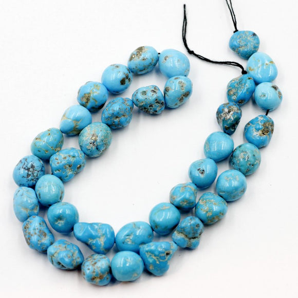 (turq083)   18 Inch strand of Sleeping Beauty Turquoise Nuggets.