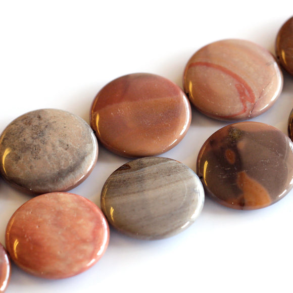 (jas006)30mm Madagascar Polychrome Jasper Circle Beads