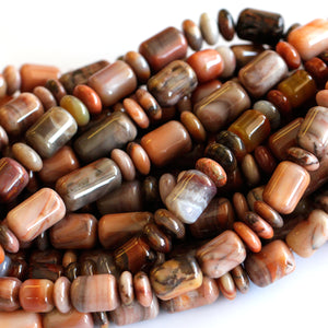 (agate041) Graduated Flame Agate Barrels and Rondelles - Scottsdale Bead Supply