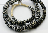 (African008) Very Collectible African Trade Beads  Black & White (Rattlesnake type)