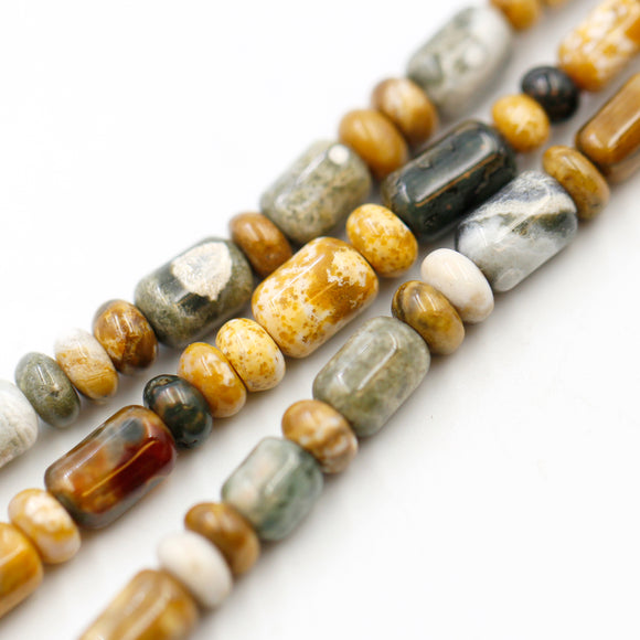 (agate046) Graduated Golden Agate Barrels - Scottsdale Bead Supply