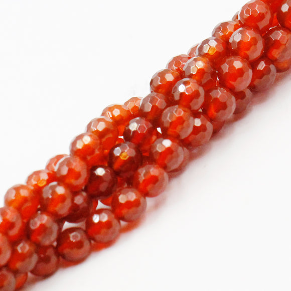 (carn006) Carnelian 6mm Faceted Rounds