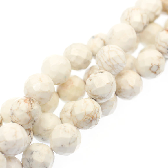 (Mag001) 12mm Round Faceted Magnesite Beads