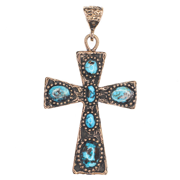 (OOAK004) Bronze And Turquoise Cross Necklace