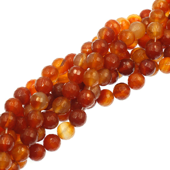 (carn029) Faceted 12mm Carnelian Beads