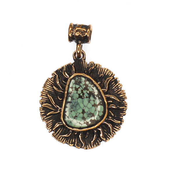 (OOAK011) Bronze and Turquoise Sun Pendant