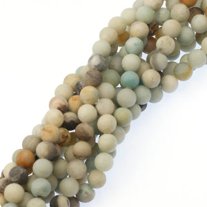 (ama005) 10mm Matte Rainbow Amazonite Beads - Scottsdale Bead Supply