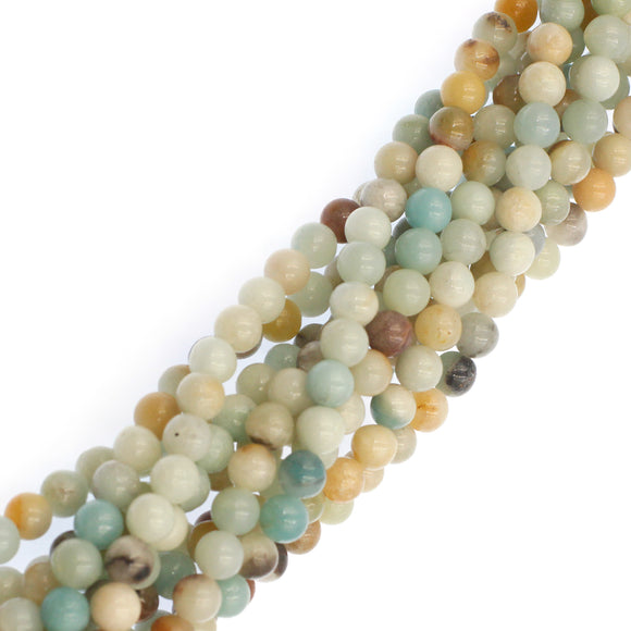 (ama004) 8mm Rainbow Amazonite Beads - Scottsdale Bead Supply