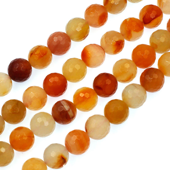 (carn009) Faceted 14mm Natural Carnelian