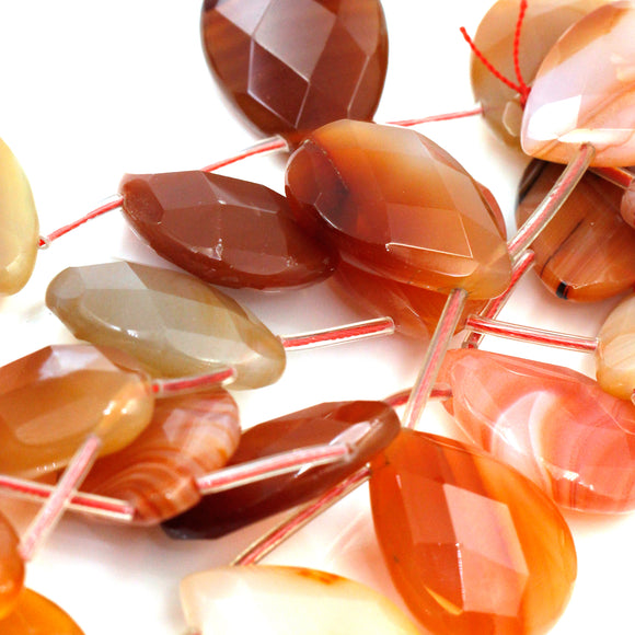(carn037) Faceted Natural Carnelian Teardrops