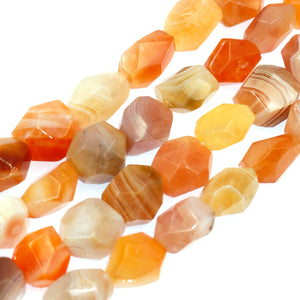 (orangechal001) Orange Chalcedony Faceted Nuggets