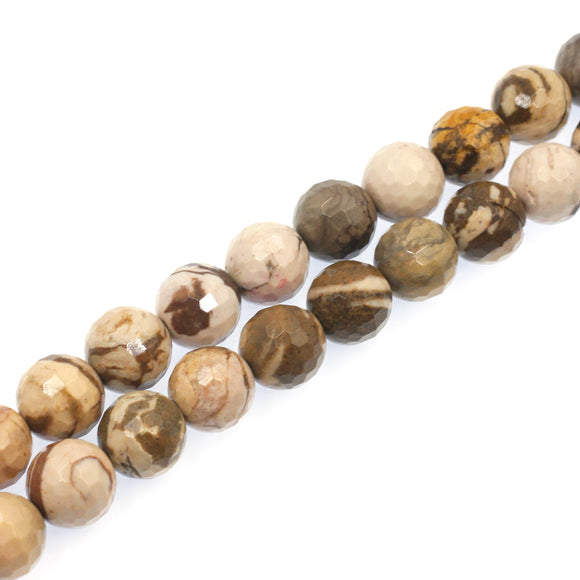 (jas063) 14mm Faceted Zebra Jasper Beads