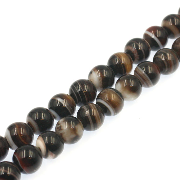 (agate066) 10mm Banded Agate - Scottsdale Bead Supply