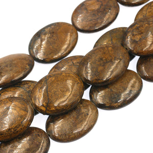 (bro003) Bronzite Ovals - Scottsdale Bead Supply
