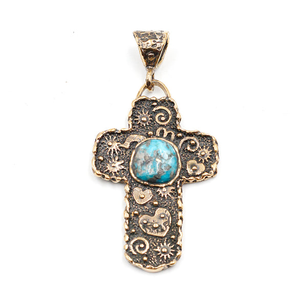 (OOAK019) Bronze Cross with Turquoise Inlay