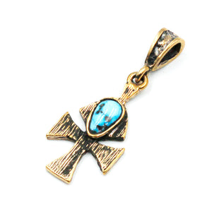 (OOAK022) Bronze Cross with Turquoise Inlay