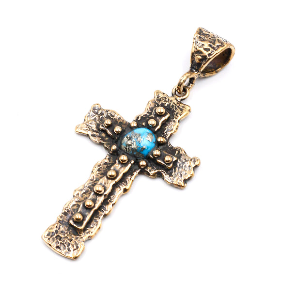 (OOAK020) Bronze Cross with Turquoise Inlay