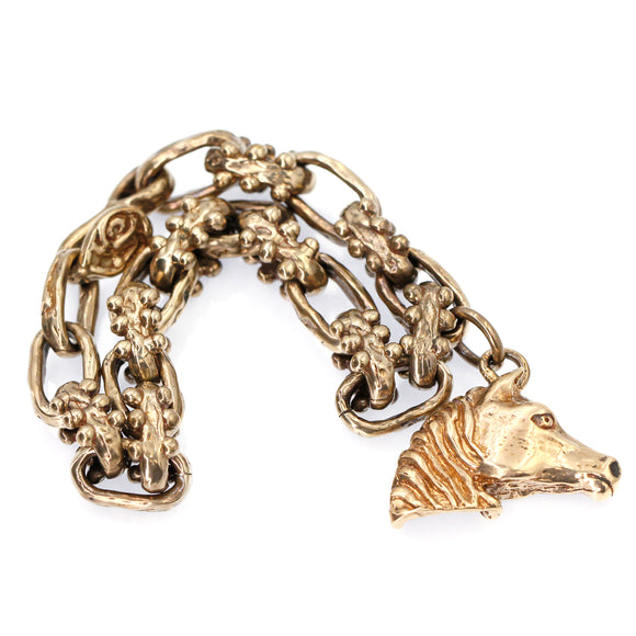 (ABR012) Bronze Bracelet with Horse Charm