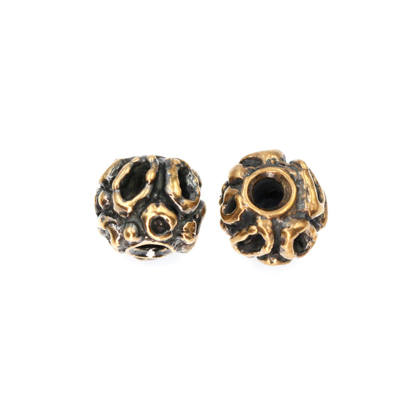 (bzbd010-9395) Solid Bronze Free Form Textured bead