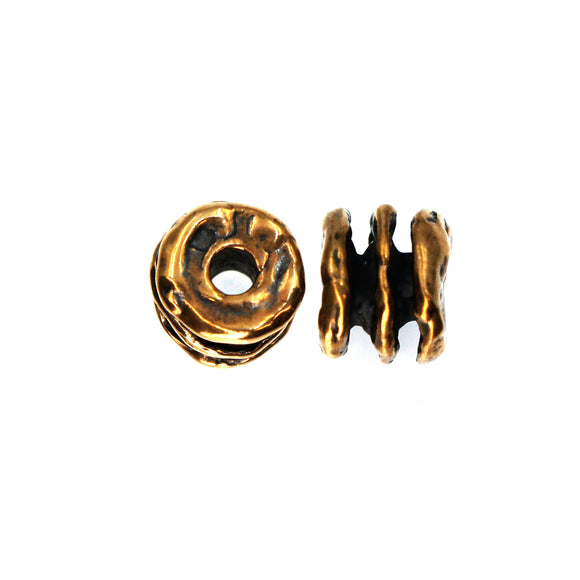 Small Bronze Spacer Bead with three ridges