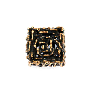 (bzbd098-8517) Handmade Textured Solid Bronze Square Bead